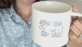 "teacher holding a mug that says ""you can do this"""